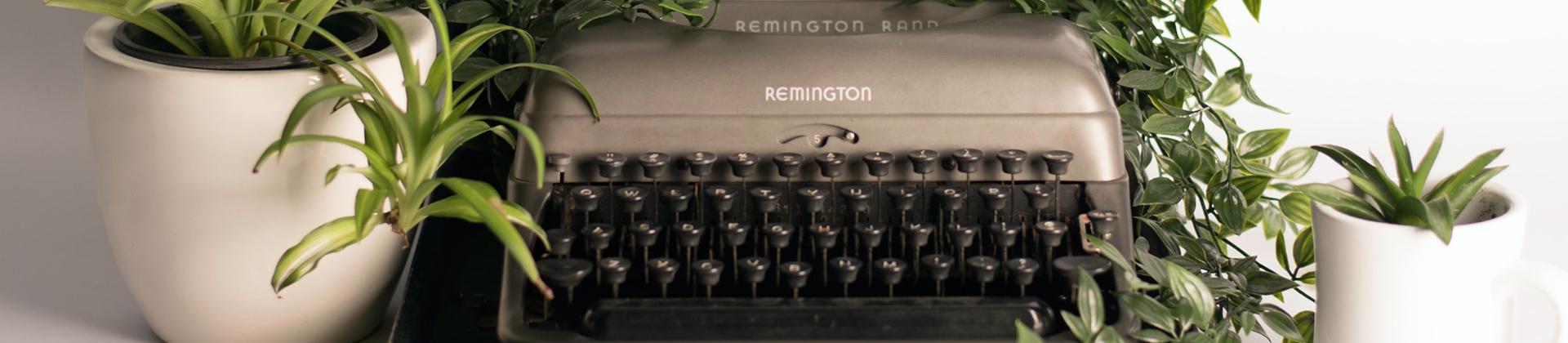 Typemachine tussen het groen